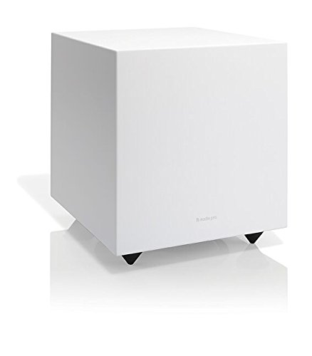 Audio Pro Addon Sub 150 Watts, 8 inch Bass Reflex Wired Home Theater Music Powered Subwoofer - White