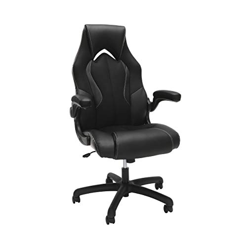 OFM Essentials Collection High-Back Racing Style Bonded Leather Gaming Chair, in Black
