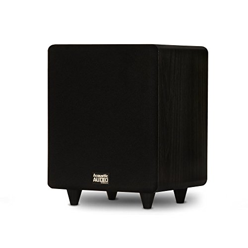 Acoustic Audio PSW300-8 Home Theater Powered 8' LFE Subwoofer Black Front Firing Sub