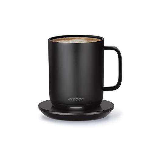 NEW Ember Temperature Control Smart Mug 2, 10 oz, Black, 1.5-hr Battery Life - App Controlled Heated Coffee Mug - Improved Design