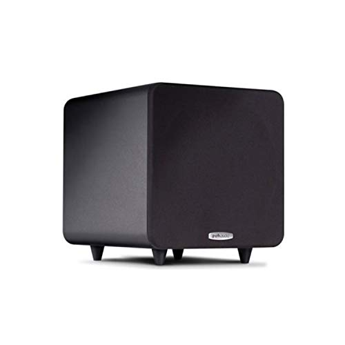 Polk Audio PSW111 8' Powered Subwoofer - Power Port Technology | Up to 300 Watt Amp | Big Bass in Compact Size | Easy Setup with Home Theater Systems Black