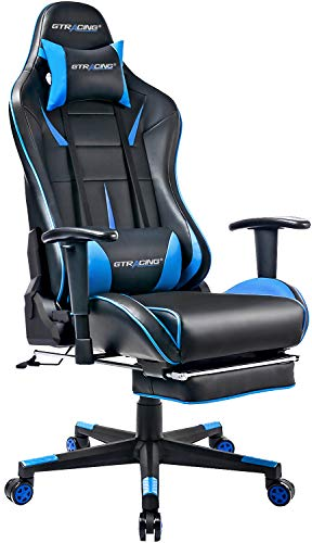 GTRACING Gaming Chair with Footrest Racing Computer Chair PU Leather Ergonomic High-Back Adjustable Height Professional E-Sports Chair with Headrest and Lumbar Pillows Black/Blue