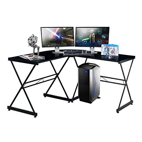 TECHNI SPORT Gaming Desk Collection Rigel Bk - L-Shaped Gaming Desk, Black - Perfect Gaming Desktop Desk