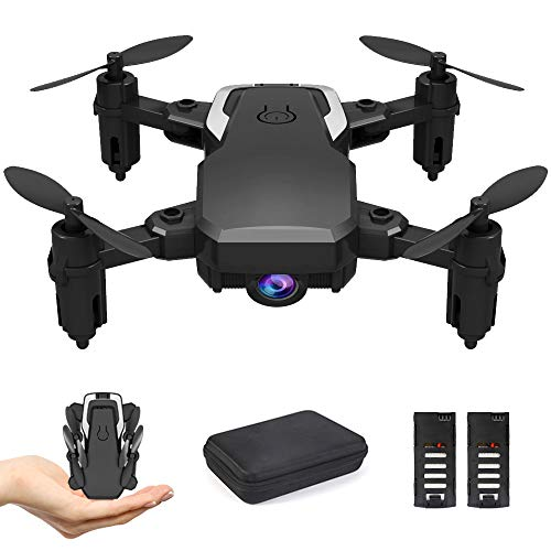 B-Qtech Mini Drone RC Quadcopter, Optical Flow Fixed Height, 1080P HD Camera Foldable Altitude Hold Headless RTF 360 Degree FPV Video WiFi 4-Axis Gyro 2 Batteries.