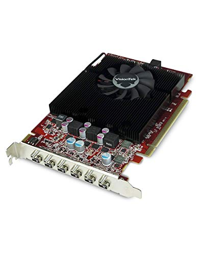 VisionTek Radeon 7750 2GB GDDR5 6 4k Monitor Graphics Card, 6 Mini DisplayPorts, AMD Eyefinity 2.0, PCI Express 3.0 Video Card, 7.1 Surround Sound (900614)