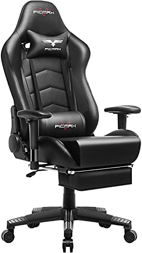 Ficmax Gaming Chair with Footrest Ergonomic PU Leather Computer Chair for Gaming, Reclining High Back Office Chair with Massage Lumbar Support, Racing Style Gamer Chair Large Size E-Sport Chair(Black)