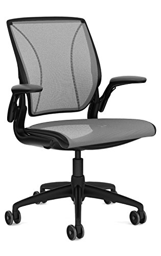 Humanscale Diffrient World Task Chair: Adjustable Duron Arms - Standard Height Cylinder - Standard Carpet Casters - Black Frame/Platinum Dash Seat