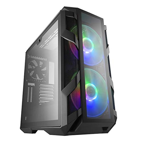 Cooler Master MasterCase H500M ARGB Airflow ATX Mid-Tower with  Quad Tempered Glass Panels, Dual 200mm ARGB Fans, Type-C I/O Panel,  Vertical GPU Slots & ARGB Lighting System