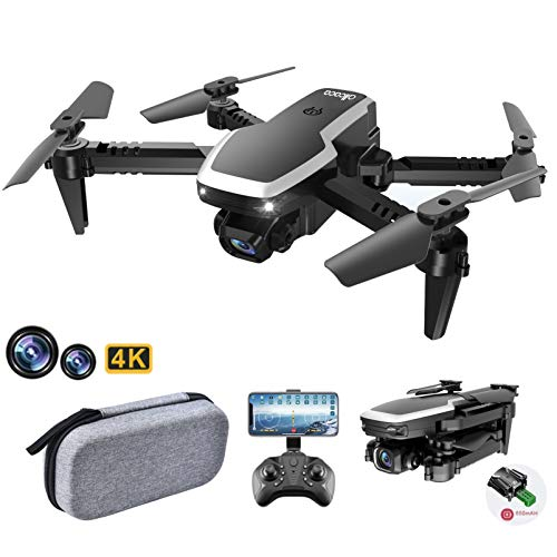 allcaca Mini Foldable Drone - Dual 4K HD Camera drone for Adults Kids, RC drone with Altitude Hold/Headless Mode/3D Flips/Trajectory Flight/Gravity Sensor/Gesture Control/ Drone Gift for Beginners