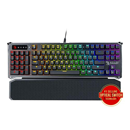 B945 Light Strike Optical Gaming Keyboard by Bloody Gaming | Left Handed Num-pad | RGB LED Backlit Keyboard | Tactile & Clicky Key Feedback | Detachable Wrist Rest | Ergonomic Design | LK Libra Orange