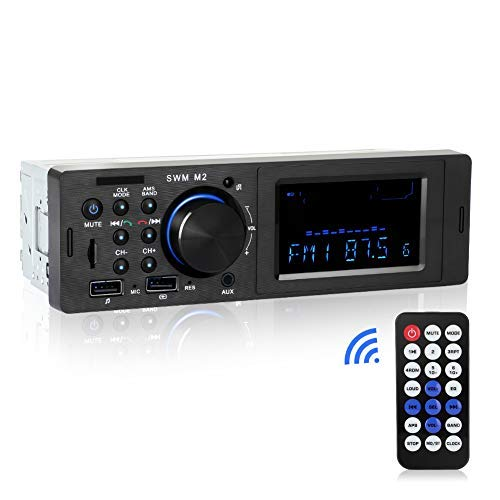 Car Stereo with Bluetooth, Single Din Car Stereo, Car Audio FM Radio Receiver, MP3 Player WMA/USB/SD/AUX Input, Remote Control, Hands Free Calling