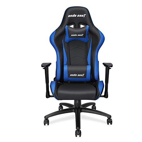 Anda Seat Axe Series Racing Style Gaming Chair with High Back, Office, Desk, Executive, Recliner, Swivel, Tilt, Rocker and Seat Height Adjustment, Lumbar and Headrest Pillows Included(Blue)