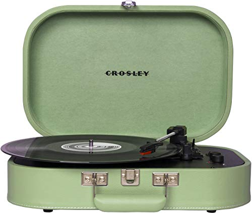 Crosley CR8009A-SEA Discovery Vintage Bluetooth 3-Speed Belt-Driven Suitcase Turntable, Seafoam