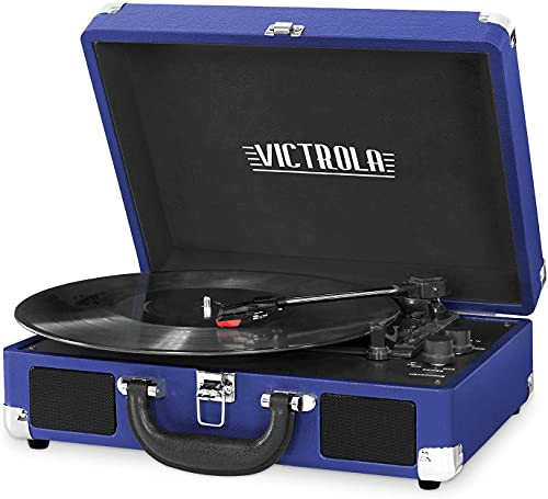 Victrola Vintage 3-Speed Bluetooth Portable Suitcase Record Player with Built-in Speakers | Upgraded Turntable Audio Sound| Includes Extra Stylus | Cobalt Blue, 1SFA (VSC-550BT-COB)