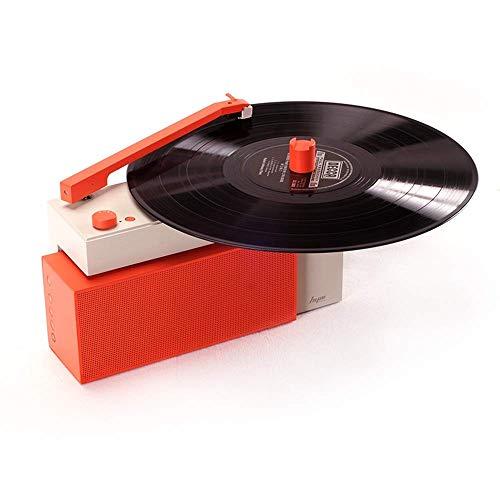 HYM Originals Duo Turntable with Detachable Bluetooth Speaker, Dust Cover, Vibrant Orange