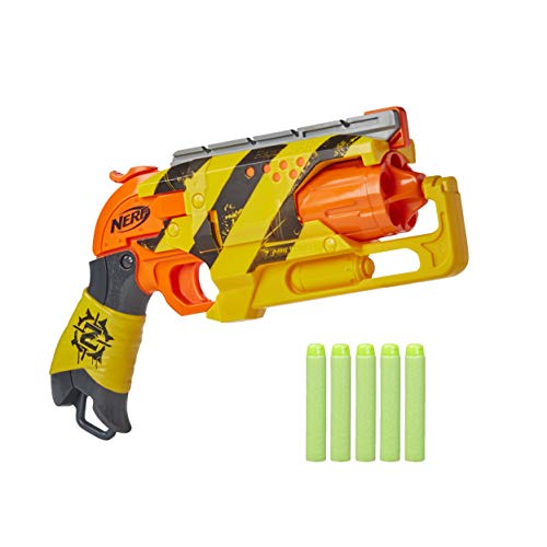 NERF Zombie Strike Hammershot Blaster -- Pull-Back Hammer-Blasting Action, 5 Official Zombie Strike Darts -- Stripes Color Scheme (Amazon Exclusive)