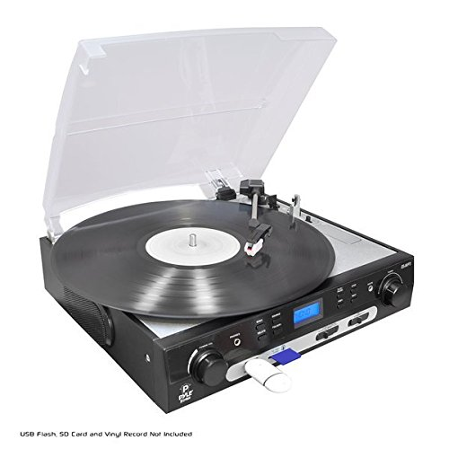 Pyle Upgraded Vintage Record Player - Classic Vinyl Player, Retro Turntable, MP3 Vinyl, Music Editing Software Included, Ceramic Cartridge, FM Tuner, MP3 Converter, 3 Speed - 33, 45, 78 - PLTTB9U