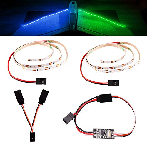 LED Light Strip with Remote Control Board for RC Planes Airplanes Remote Controlled Fixed Wing Model Car Truck Helicopter Quadcopter Sailboat Drone (Blue + Green)