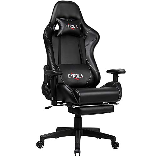 Cyrola Large Gaming Chair with Footrest High Back Adjustable Armrest Heavy Duty Computer Racing Gaming Chair for Adults Gamer Chair Ergonomic Design Video Game Chair Lumbar Support Black