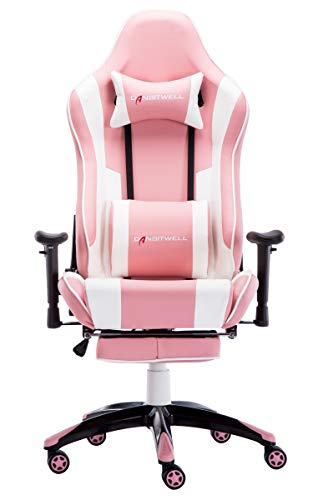 DANSITWELL Gaming Chairs for Adults, Ergonomic Adjustable Racing Chair with Footrest High Back Computer Chair with Headrest and Massage Lumbar Support (Pink)