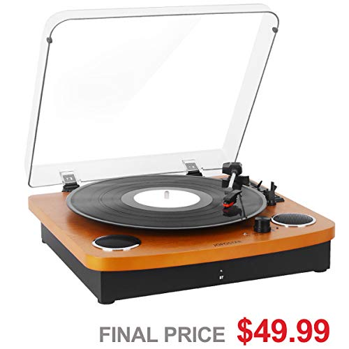Record Player Turntable,Pareiko Vintage Vinyl Record Turntable Player,Bluetooth Record Player with Speaker,Vinyl to MP3 Recording ,RCA Output,3.5mm Aux Input,Headphone Jack
