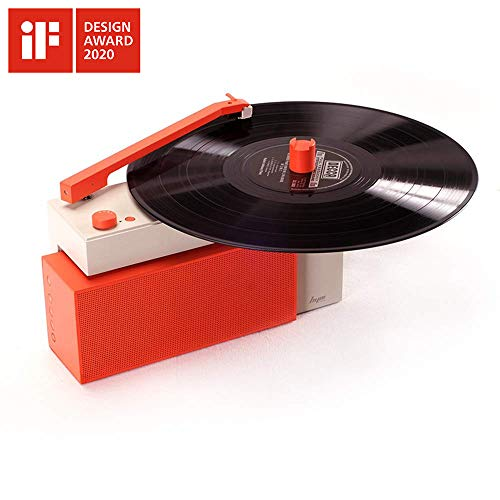 HYM Originals Duo Turntable with Detachable Bluetooth Speaker, Dust Cover, Vibrant Orange
