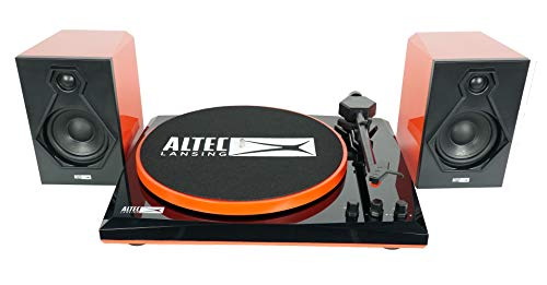 Altec Lansing ALT-900 Vinyl Record Player Turntable with Bluetooth and Dual Stereo Speakers, 2-Speed, 33 1/3 and 45 RPM, Black/Red