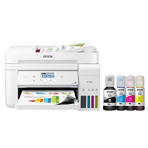Epson EcoTank ET-4760 Wireless Color All-in-One Cartridge-Free Supertank Printer with Scanner, Copier, Fax, ADF and Ethernet - White