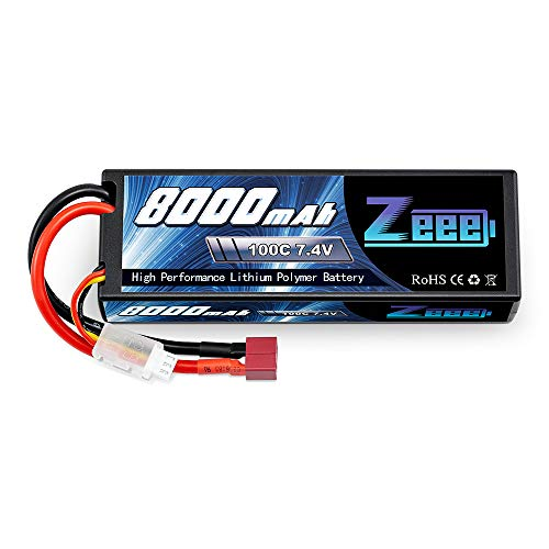 Zeee Lipo Battery 7.4V 100C 8000mAh Hard Case with Deans T Plug for RC Car RC Truck RC Truggy RC Boat Helicopter