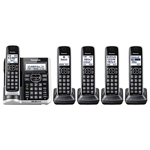 Panasonic Link2Cell Bluetooth Cordless Phone System with HD Audio, Voice Assistant, Smart Call Blocking and Answering Machine . DECT 6.0 Expandable Cordless System -5 Handsets- KX-TGF675S (Silver)
