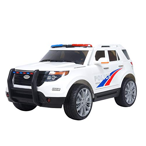 Uenjoy 12V Kids Police Ride on Car Electric SUV Car Battery Powered Motorized Vehicles W/ Remote Control, 2 Speeds, AUX, Sirens, LED Light, White