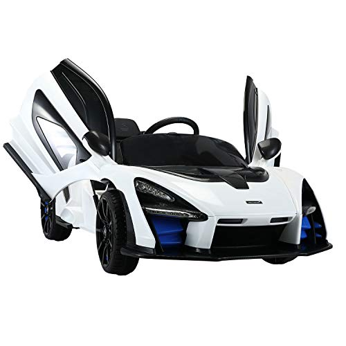 TOBBI 12V Licensed McLaren Kids Ride-On Cars Toys with Remote Control Electric Battery Powered Vehicles with Music, Spring Suspension, Safety Lock(White)