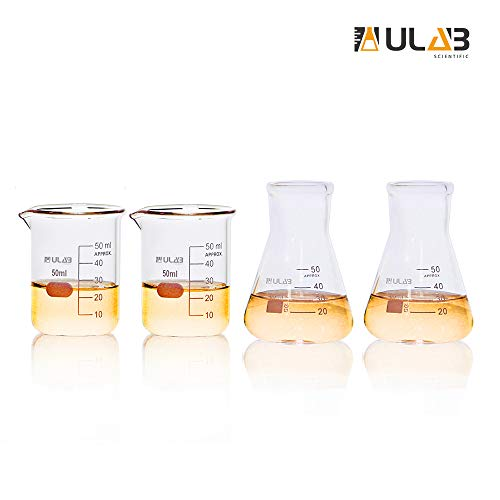ULAB Scientific Tableware Laboratory Beaker Shot Glasses and Wide Neck Erlenmeyer Flask Set, 2pcs of 50ml Beakers with Spout, 2pcs of 50ml Conical Flask, 3.3 Borosilicate Glass, Printed Graduation