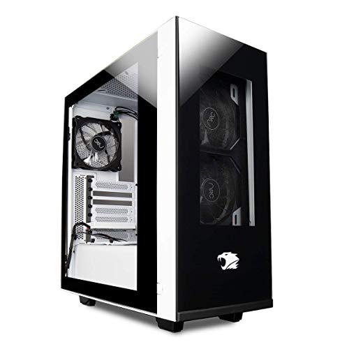 iBUYPOWER Snowblind Element Mid-Tower Desktop Computer Gaming Case 19' Translucent LCD Side-Panel Display 1024 X 1280 Resolution 3 x 120mm Fans White and Black