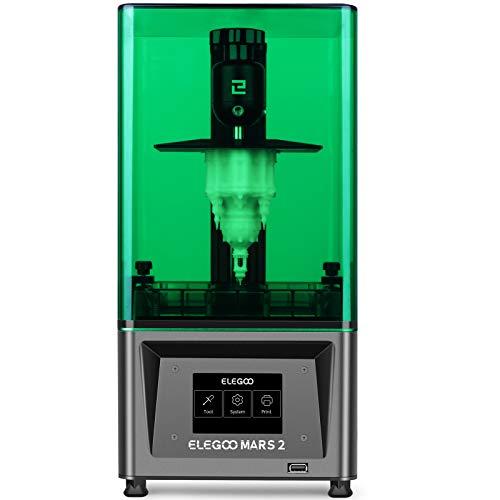 ELEGOO Mars 2 Mono MSLA 3D Printer UV Photocuring LCD Resin 3D Printer with 6.08 inch 2K Monochrome LCD, Printing Size 129x80x150mm/5.1x3.1x5.9inch, Green Cover