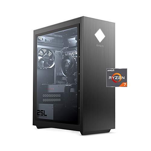 OMEN - GT12-0030 25L Gaming Desktop PC, AMD Radeon RX 5500, AMD Ryzen 7 3700X, HyperX 16GB DDR4 RAM, 512GB PCIe NVMe SSD, Windows 10 Home, VR Ready, RGB Lighting (GT12-0030, 2020 Model) Shadow Black