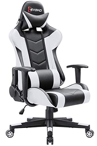Devoko Ergonomic Gaming Chair Racing Style Adjustable Height High Back PC Computer Chair with Headrest and Lumbar Support Executive Office Chair (White)