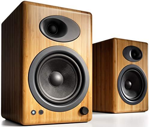 Audioengine A5+ (Plus) Powered Speaker | Desktop Monitor Speakers Computer Sound System | 150W Premium Powered Bookshelf Stereo Speakers Pair, AUX Audio, RCA Inputs/Outputs, Remote Control (Black)