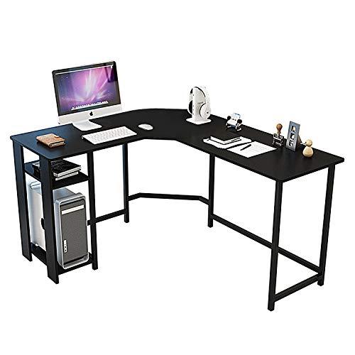 TY ARTS & CULTURE - L-Shaped Corner Desk Gaming Desk PC Table Office Computer Desk with Wood Laptop Black Frame Work Station Study Home Office Furniture   Black
