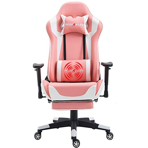 Nokaxus Gaming Chair Large Size High-Back Ergonomic Racing Seat with Massager Lumbar Support and Retractible Footrest PU Leather 90-180 Degree Adjustment of backrest Thickening sponges(YK-6008-PINK)
