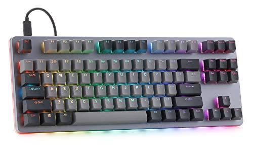 Drop CTRL Mechanical Keyboard — Tenkeyless TKL (87 Key) Gaming Keyboard, Hot-Swap Switches, Programmable Macros, RGB LED Backlighting, USB-C, Doubleshot PBT, Aluminum Frame (Halo Clear)