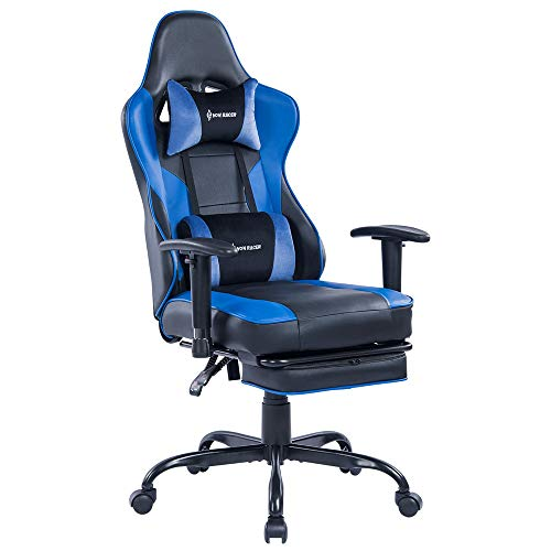 Blue Whale Gaming Chair with Adjustable Massage Lumbar Pillow Retractable Footrest and Headrest Racing Ergonomic High Back PU Leather Office Computer Executive Desk Chair 8239
