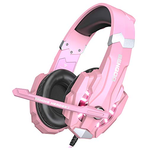 BENGOO G9000 Stereo Gaming Headset for PS4, PC, Xbox One Controller, Noise Cancelling Over Ear Headphones with Mic, LED Light, Bass Surround, Soft Memory Earmuffs (Pink)