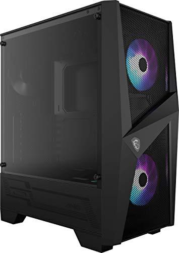 MSI MAG Forge 100R Mid Tower Gaming Computer Case 'Black, 2X 120 mm ARGB PWM Fan, 1x 120 mm Fan, 1-6 ARGB Hub, Mystic Light Sync, Tempered Glass Panel, ATX, mATX, Mini-ITX'