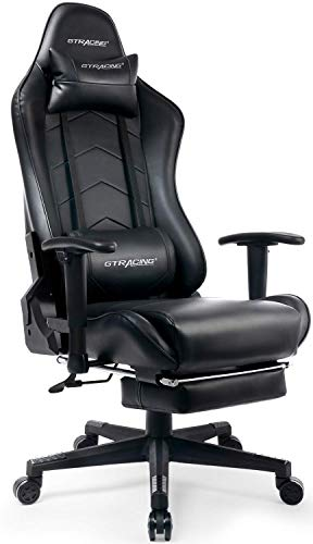 Gtracing Gaming Chair with Footrest Big and Tall Office Executive Chair Heavy Duty Adjustable Recliner with Headrest Lumbar Support Cushion Desk Chair Black
