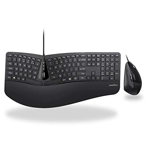 Perixx Periduo-505, Wired USB Ergonomic Split Keyboard and Vertical Mouse Combo with Adjustable Palm Rest and Short Tactical Membrane Keys, US English Layout