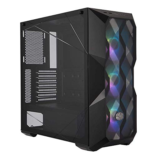 Cooler Master MasterBox TD500 Mesh Airflow ATX Mid-Tower with Polygonal Mesh Front Panel, Crystalline Tempered Glass, E-ATX up to 10.5', Three 120mm ARGB Fans & ARGB Lighting System