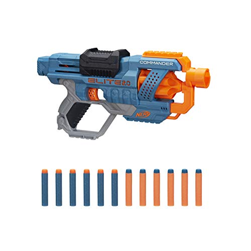 NERF Elite 2.0 Commander RD-6 Blaster, 12 Official Darts, 6-Dart Rotating Drum, Tactical Rails, Barrel and Stock Attachment Points