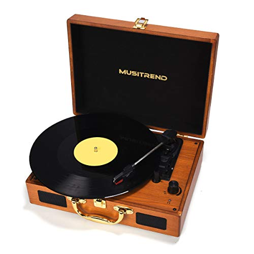 Musitrend Record Player Vinyl Turntable 3 Speed Vintage Record Players with Stereo Speaker Belt Driven Portable Record Player Suitcase