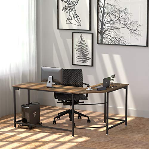Newest L Shaped Gaming Desk Corner Computer Desks - 66.1' Sturdy Home Office Computer Table Writing Desk Workstation with Anti-Rust Metal, Wood, CPU Stand, Dark Walnut